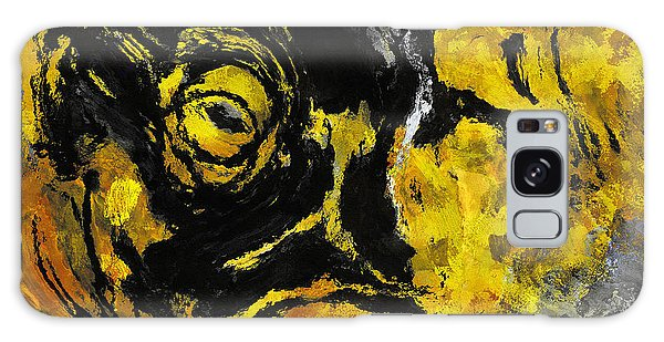 Yellow And Black Abstract Art Galaxy Case by Ayse Deniz