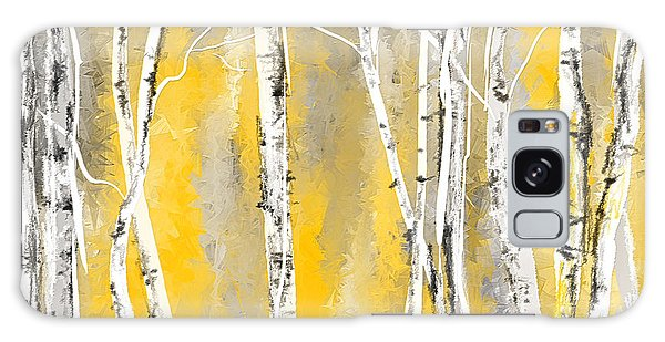 Yellow And Gray Birch Trees Galaxy Case
