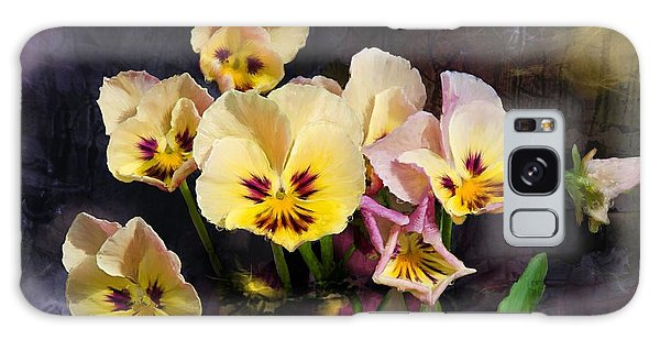 Yellow And Pink Pansies Galaxy Case by Debra Baldwin