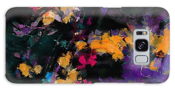 Yellow And Purple Abstract / Modern Painting Galaxy Case by Ayse Deniz