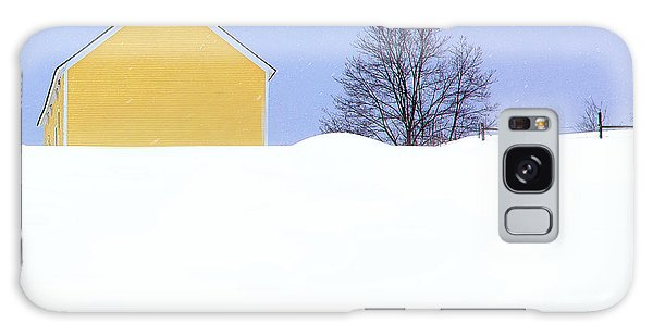 Yellow Barn In Snow Galaxy Case