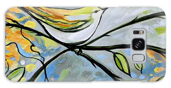 Yellow Bird Among Sage Twigs Galaxy Case