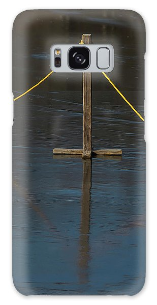Galaxy Case featuring the photograph Yellow Boundary On Ice by Gary Slawsky