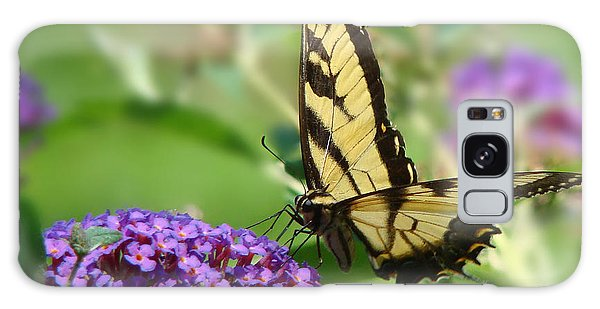 Yellow Butterfly On Purple Galaxy Case