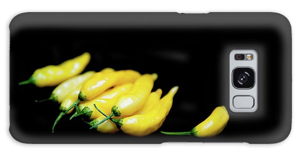 Yellow Chillies On A Black Background Galaxy Case