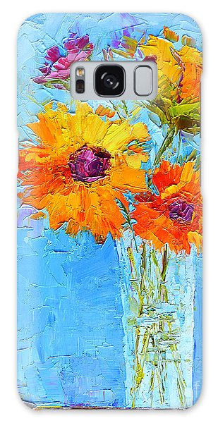 Yellow Daisies Flowers - Peonies In A Vase - Modern Impressionist Knife Palette Oil Painting Galaxy Case