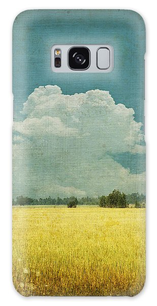 Old Galaxy Case - Yellow Field On Old Grunge Paper by Setsiri Silapasuwanchai