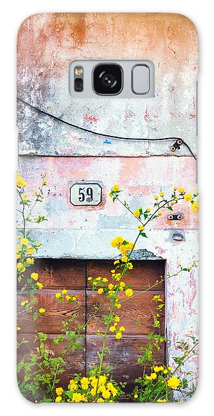 Yellow Flowers And Decayed Wall Galaxy Case