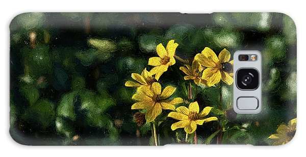 Yellow Flowers, Black Bee Galaxy Case by Travis Burgess