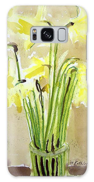 Yellow Flowers In Vase Galaxy Case
