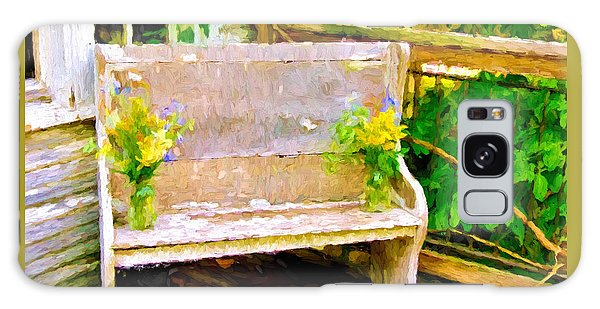 Yellow Flowers On Porch Bench Galaxy Case