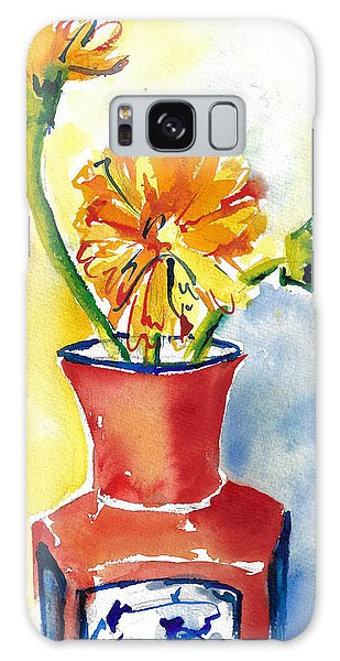 Yellow Gerbera Daisies In A Red And Blue Delft Vase Galaxy Case