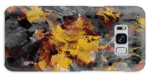 Yellow / Golden Abstract / Surrealist Landscape Painting Galaxy Case by Ayse Deniz