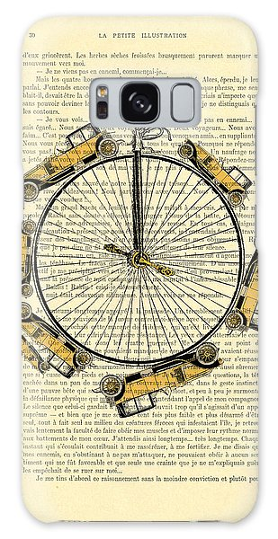 Automobile Galaxy Case - Yellow Oldtimers On A Bicycle Wheel Antique Illustration On Book Page by Madame Memento