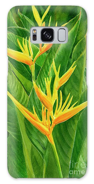 Parakeet Galaxy S8 Case - Yellow Orange Heliconia With Leaves by Sharon Freeman