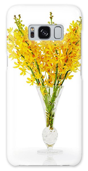 Yellow Orchid In Crystal Vase Galaxy Case by Atiketta Sangasaeng