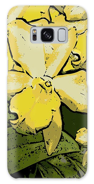 Yellow Orchids Woodcut Galaxy Case