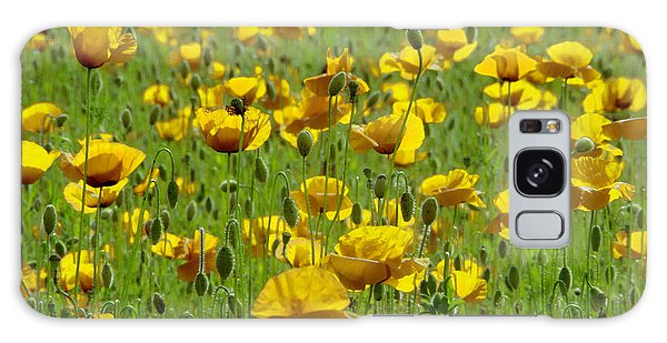 Yellow Poppy Field Galaxy Case