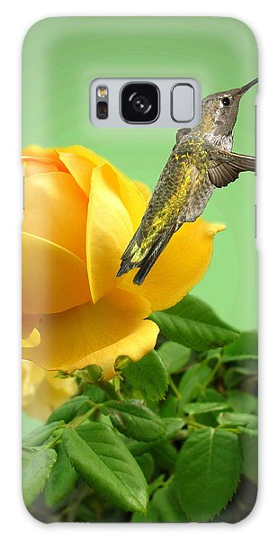 Yellow Rose And Hummingbird 2 Galaxy Case by Joyce Dickens