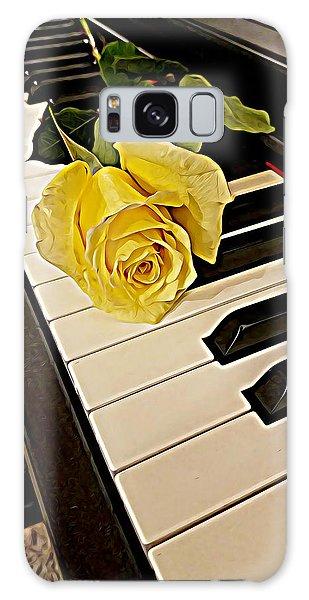 Yellow Rose On Piano Keys Galaxy Case