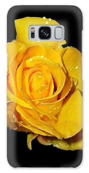 Yellow Rose With Dew Drops Galaxy Case by Patricia Barmatz