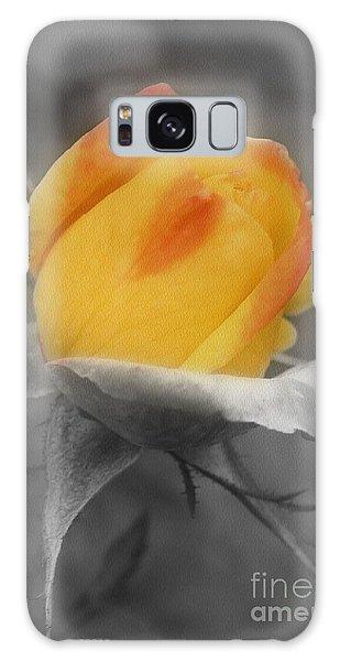 Yellow Rosebud Partial Color Galaxy Case