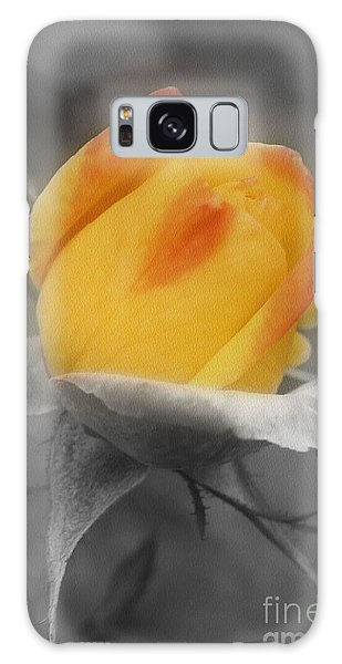Yellow Rosebud Partial Color Galaxy Case