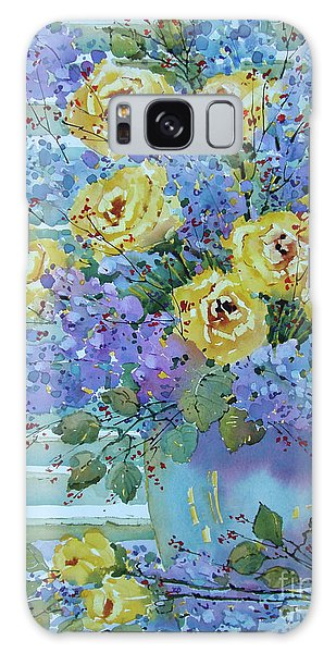 Yellow Roses And Lilacs Galaxy Case