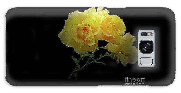 Yellow Roses On Black Galaxy Case