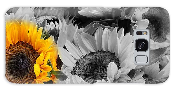 Yellow Sunflower On Black And White Galaxy Case by Dora Sofia Caputo Photographic Art and Design