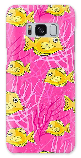 Reef Diving Galaxy Case - Yellow Tang In Pink Coral Sea by Antique Images