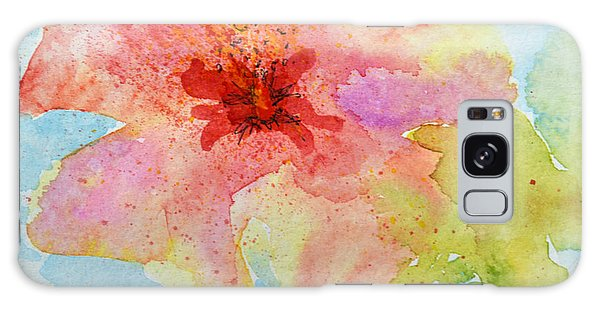 Yellow Tinged Hibiscus Galaxy Case by Lynda Cookson