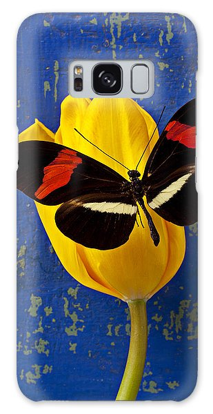Yellow Tulip With Orange And Black Butterfly Galaxy Case