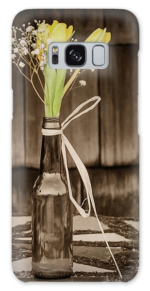 Yellow Tulips In Glass Bottle Sepia Galaxy Case by Terry DeLuco