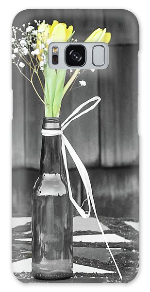 Yellow Tulips In Glass Bottle Galaxy Case by Terry DeLuco