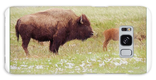 Yellowstone Poster With Bison Galaxy Case