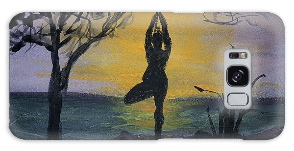Yoga Tree Pose Galaxy Case by Donna Walsh