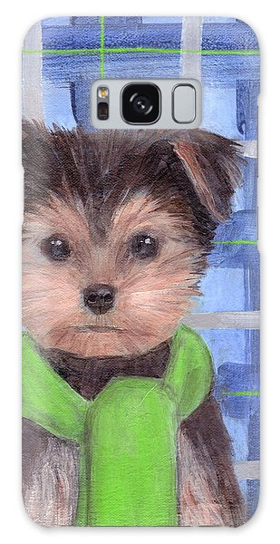 Yorkie Poo With Scarf Galaxy Case