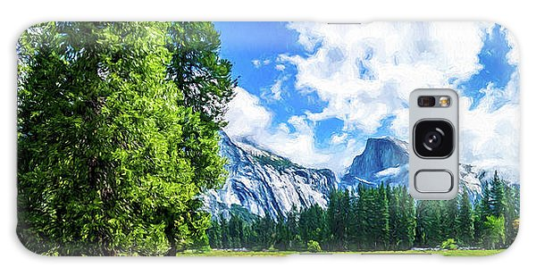 Yosemite Valley And Half Dome Digital Painting Galaxy Case