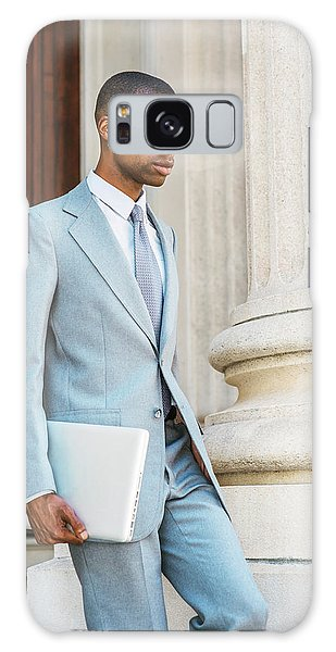 Young African American Businessman Working In New York Galaxy Case