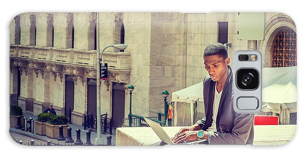 Young African American Man Working On Wall Street In New York Galaxy Case