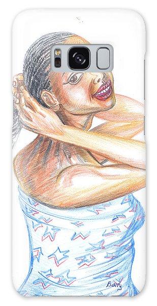 Young Cameroun Woman Tying Her Hair Galaxy Case by Emmanuel Baliyanga