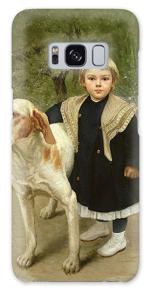 Young Child And A Big Dog Galaxy Case