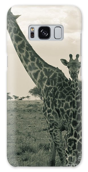 Young Giraffe With Mom In Sepia Galaxy Case by Darcy Michaelchuk