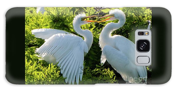 Young Great Egrets Playing Galaxy Case