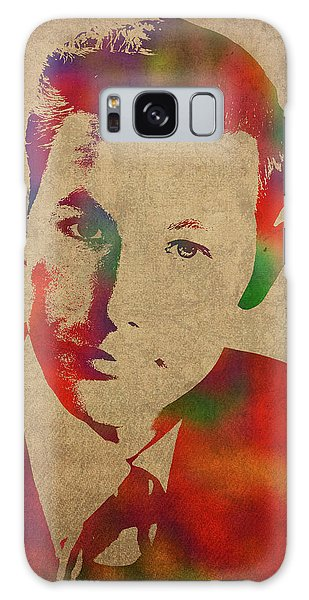 Johnny Carson Galaxy Case - Young Johnny Carson Watercolor Portrait by Design Turnpike