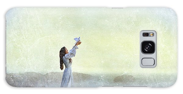 Young Lady Releasing A Dove By The Sea Galaxy Case