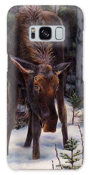 Young Moose And Snowy Forest Springtime In Alaska Wildlife Home Decor Painting Galaxy Case