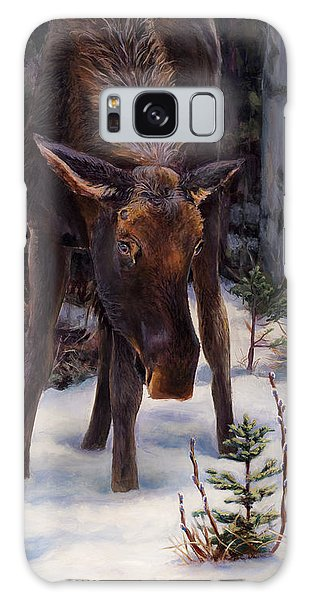 Young Moose And Pussy Willows Springtime In Alaska Wildlife Painting Galaxy Case