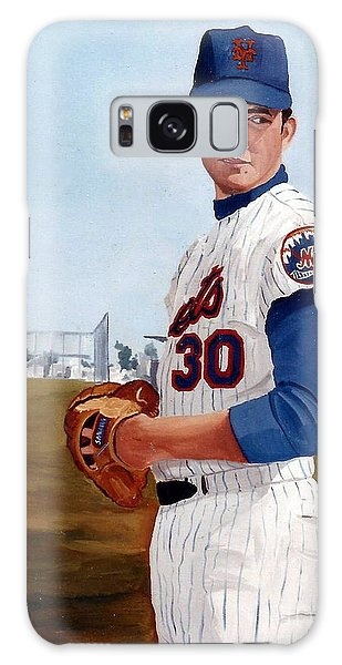 Galaxy Case featuring the painting Young Nolan Ryan - With Mets by Rosario Piazza